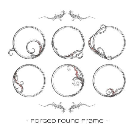 to furnish: set of six round forged a framework on a white background