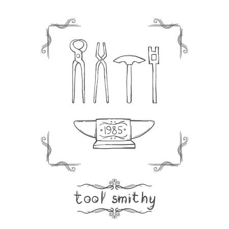 a set of blacksmiths tools and anvil on a white background