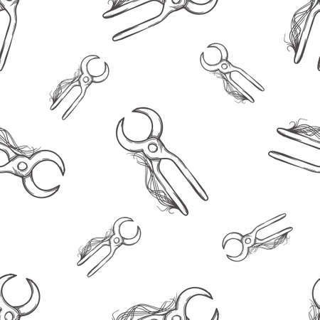 foundry: seamless background with blacksmith tools, tools dark and white background Illustration