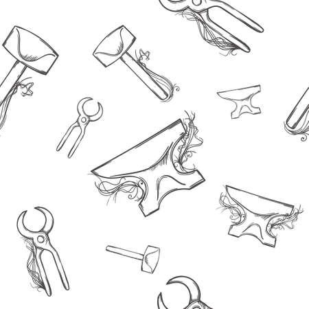 blacksmith: seamless background with blacksmith tools, tools dark and white background Illustration