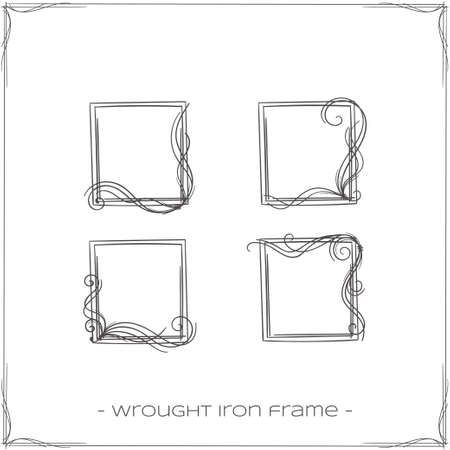 to furnish: set of four square, wrought iron frames for icons on a white background
