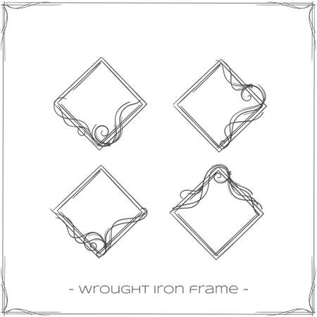 diamond shaped: set of four forged diamond shaped frames for the icons on a white background
