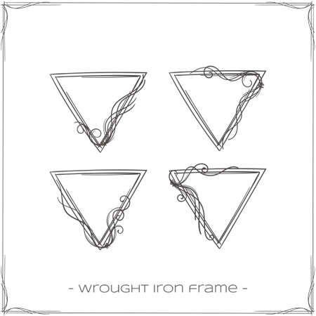 forged: set of four triangular forged a framework for the icons on a white background