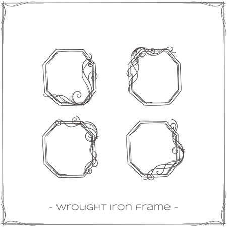 to furnish: set of four hexagonal, forged a framework for the icons on a white background