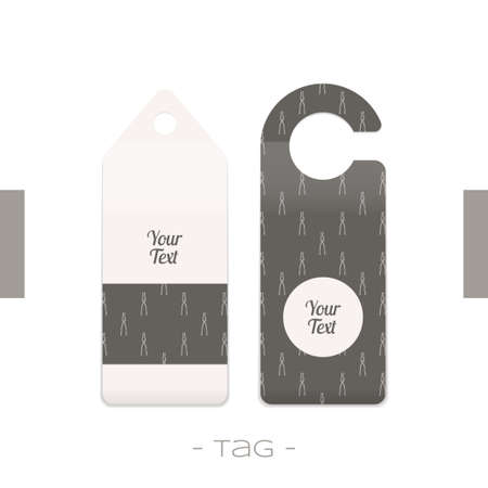 forging: Set of two tags with the pattern of forging tools and place for text on a white background