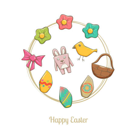 used items: Set of easter elements. Bunny, eggs, flowers, basket, bow on a white background. It can be used as decorative items for postcards, drawing patterns and web elements.