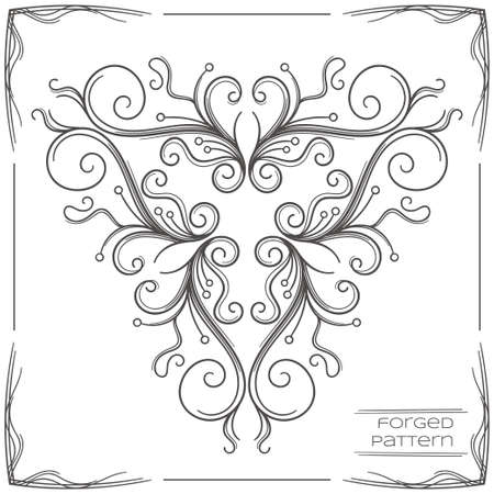 cosiness: Pattern wrought products on a white background and framed. Can be used as a decorative element in the design, or as a model for the drawing for forging. Illustration