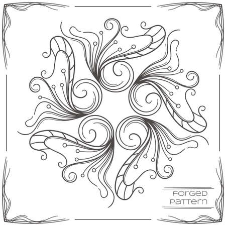 to furnish: Pattern wrought products on a white background and framed. Can be used as a decorative element in the design, or as a model for the drawing for forging. Illustration