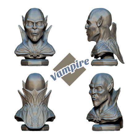 bust: Bust of a vampire in four projections. Since the inscription on a white background. It can be used as a decorative element or as a print clothes.