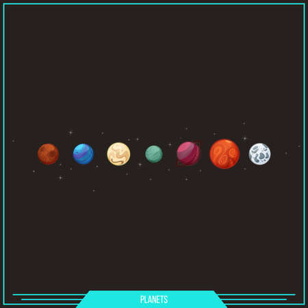 cosmo: Set of planets invented. On dark background. It can be used as elements for games and icons for websites Illustration