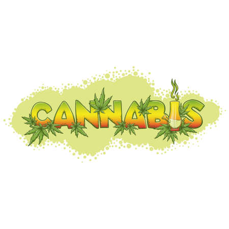 Color print with the word cannabis, medical marijuana leaves and Bong. On a white background. It can be used for application to clothing or as an illustration for posters