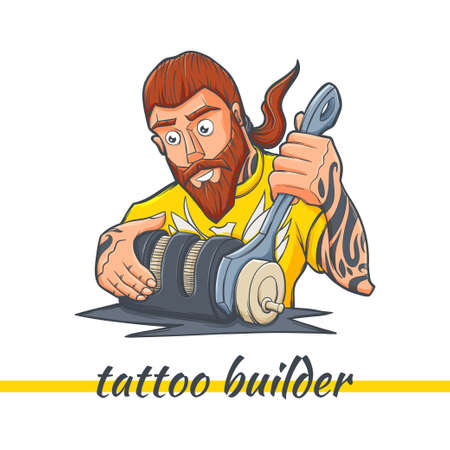 A character on a white background, making the tattoo machine with tattoos on his hands