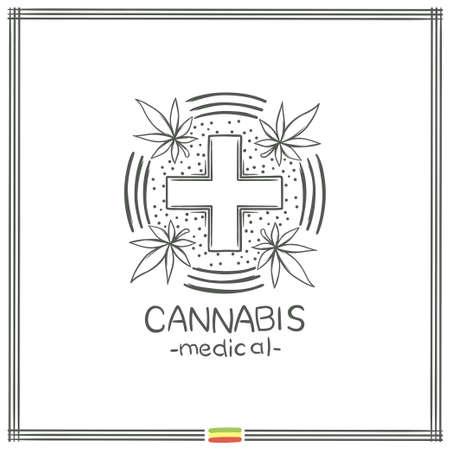 Medical Marijuana Logo Black Six Illustration