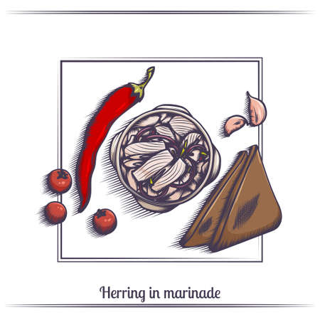 Herring in Marinade and With Bread Illustration