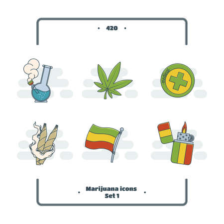 bong: A set of colored icons with the attributes of rastaman. On a white background.