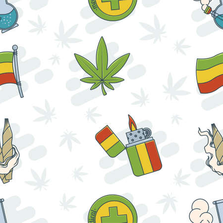 Marijuana Attributes Icons Set One Illustration