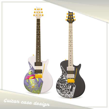 weeds: Electric Guitar Case Template Design Illustration