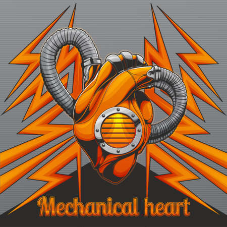 Mechanical Heart on Background Illustration