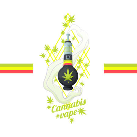 Bong in the form of a vape. Surrounded by leaves of medical marijuana and smoke. On a white background. Can be used as a print for T-shirts and textiles