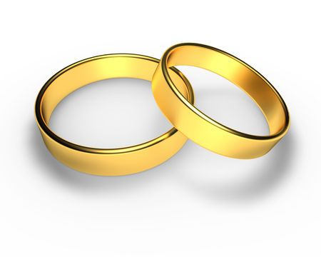 Golden wedding rings in 3D