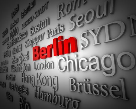 typographical demonstration of big cities - berlin  3d photo