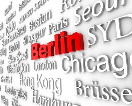 typographical: typographical demonstration of big cities - Berlin  3d
