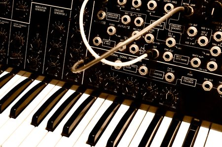 Legendary analog synthesizer from the seventies Stock Photo