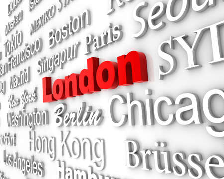 typographical: typographical demonstration of big cities - london  3d
