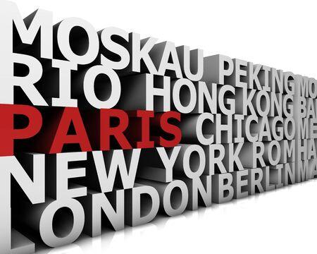 typographical demonstration of big cities - paris  3d