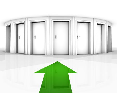 right choice: rendering of a white room with closed doors and green arrow Stock Photo