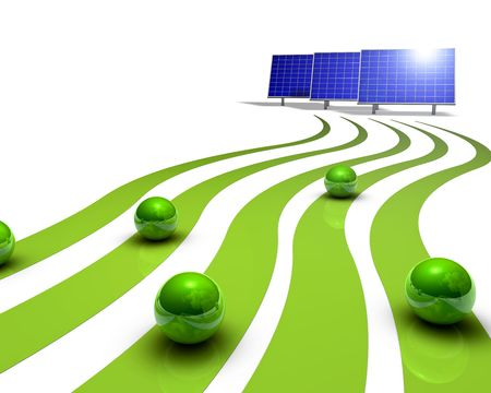 charge: Solar panels Stock Photo