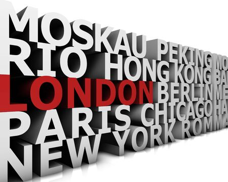 arial: typographical demonstration of big cities - london  3d
