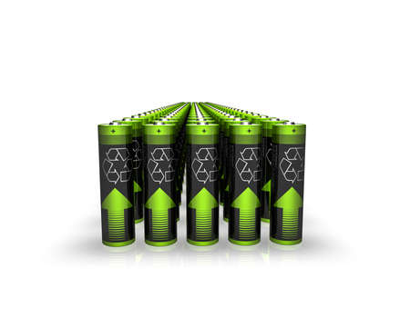 rendering of batteries with recycle sign Stock Photo - 5676344