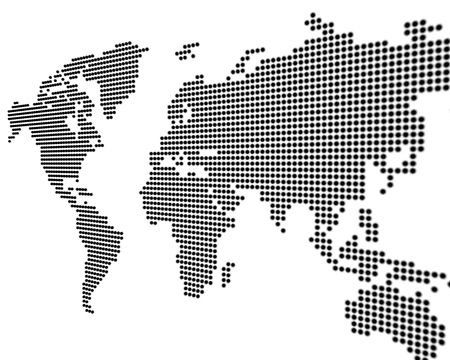 World map - black points on white background - 3D