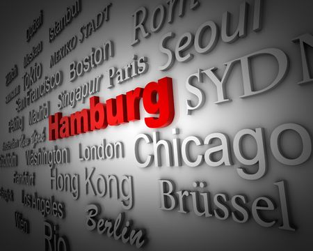 typographical demonstration of big cities - hamburg  3d photo