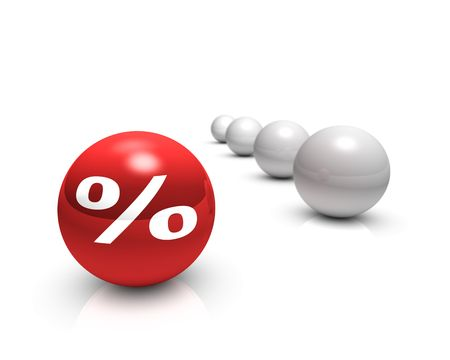 Rendering of a white percent sign on a red sphere Stock Photo