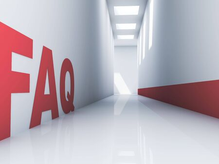 questionable request: Rendering of a FAQ text in a corridor Stock Photo