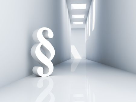 Rendering of a white paragraph symbol in a corridor photo