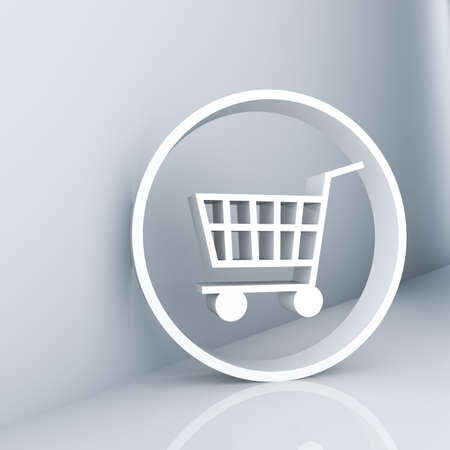 Rendering of a white shopping cart symbol Stock Photo - 7433031