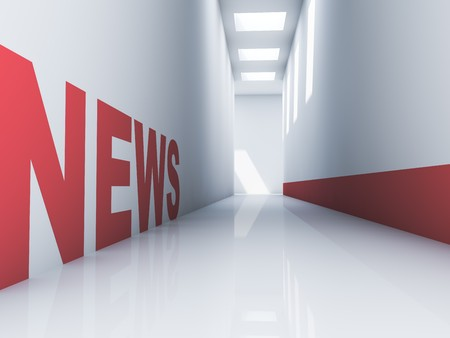 Rendering of a red news text in a white corridor