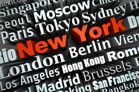 typographical demonstration of big cities - new york  3d