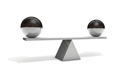 stable: 3d rendering of two spheres in balance Stock Photo