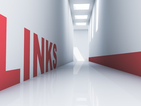Rendering of a red links text in a white corridor