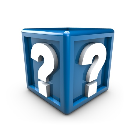questionable: Rendering of two question mark on a blue cube Stock Photo