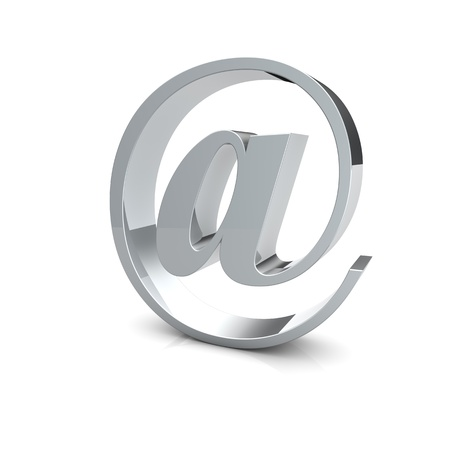 Rendering of an silver e-mail symbol
