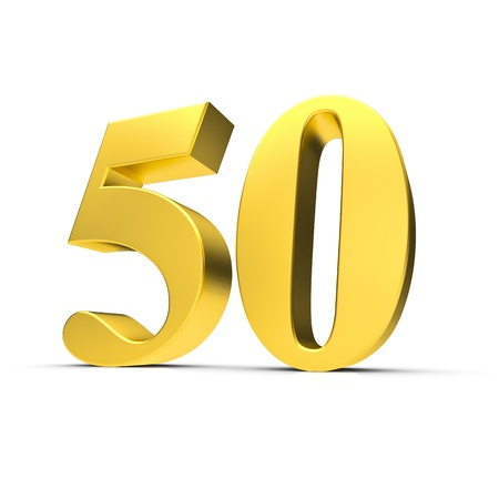 Rendering of a golden fifty number Stock Photo - 9814419