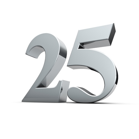 on silver: Rendering of a silver twenty-five number Stock Photo