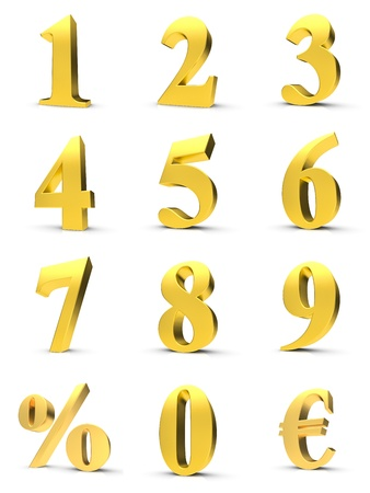 digit 3: Golden numbers with euro and percent symbol