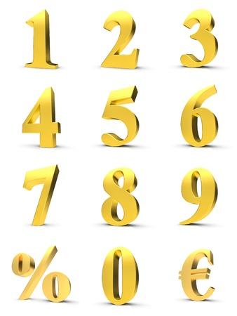 numera: N�meros de oro con el s�mbolo de euro y por ciento