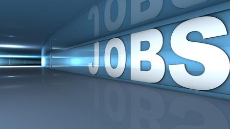 vacante: Prestaci�n de un texto de puestos de trabajo en blanco en un t�nel